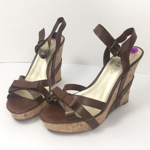 Guess Wedges Cork Brown with Bow